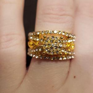 Gold Thick Band Ring w/Sapphire White Diamonds